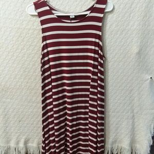 Maroon and white striped t dress